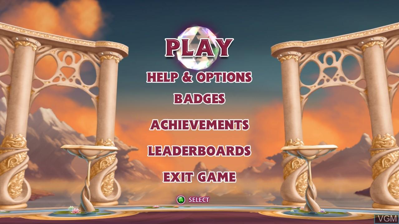 Menu screen of the game Bejeweled 3 on Microsoft Xbox 360