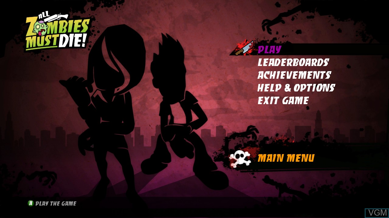 Menu screen of the game All Zombies Must Die! on Microsoft Xbox 360