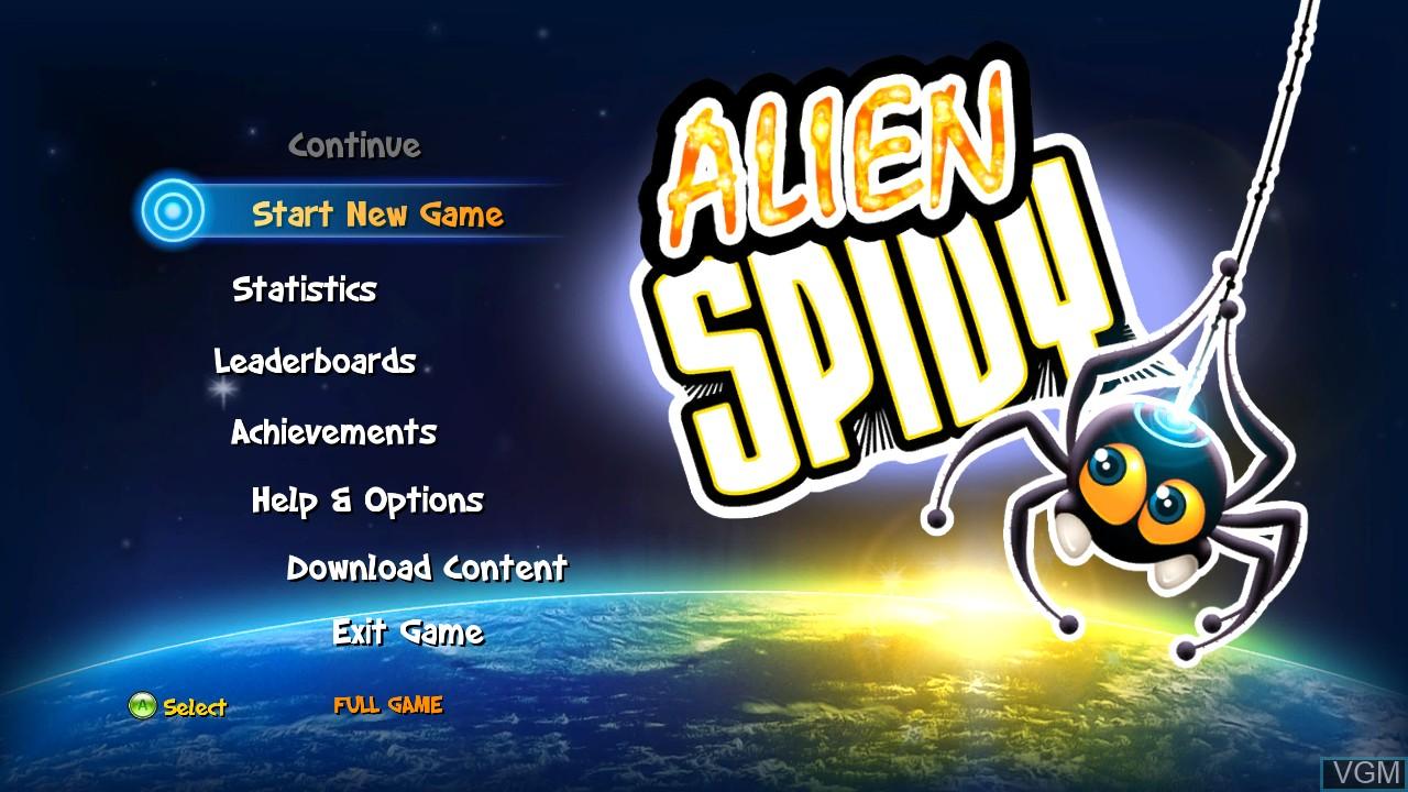 Menu screen of the game Alien Spidy on Microsoft Xbox 360
