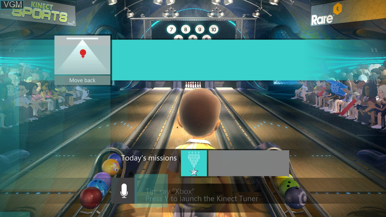 Menu screen of the game Kinect Sports - 10 Frame Bowling on Microsoft Xbox 360