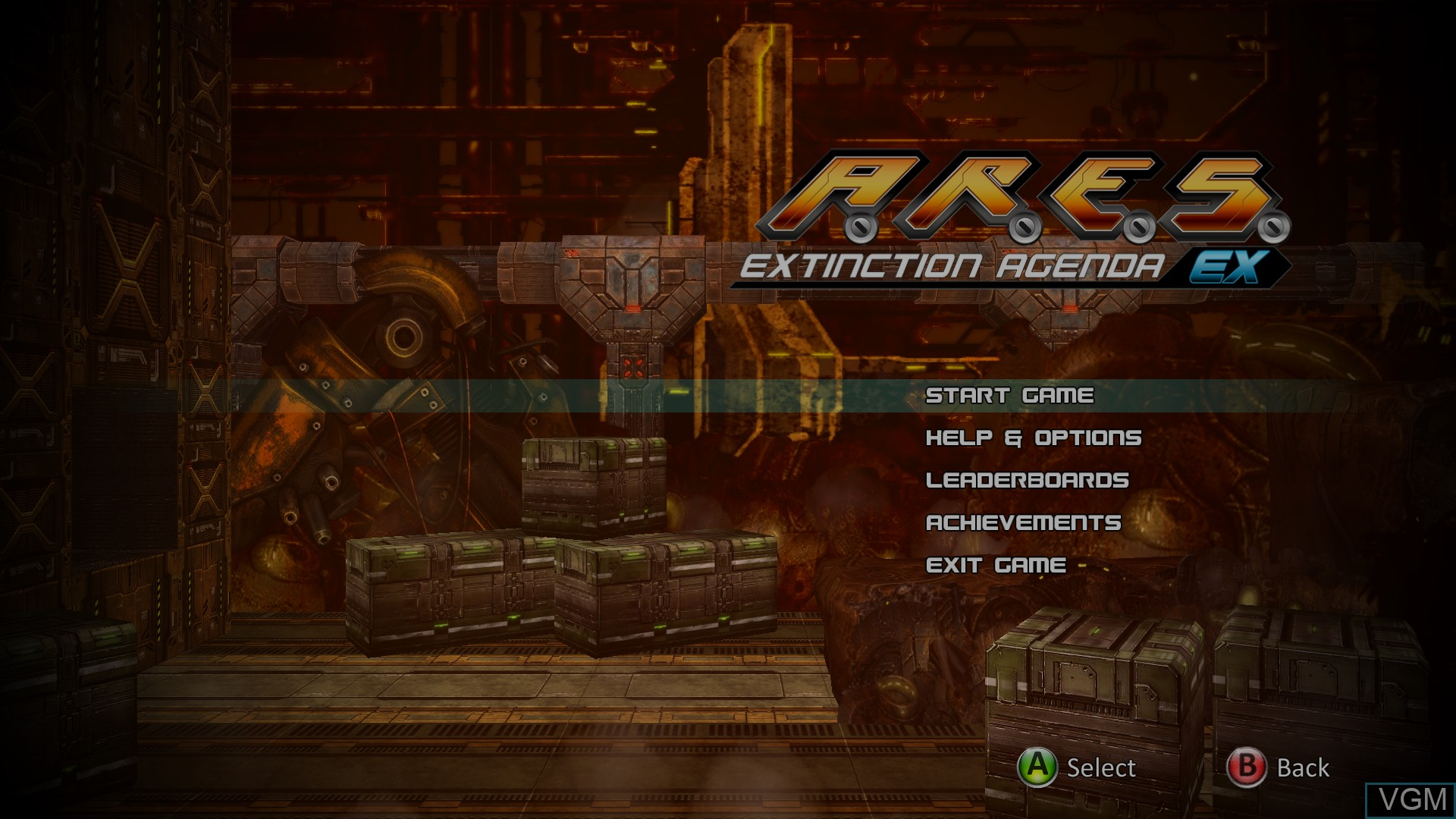 Menu screen of the game A.R.E.S. Extinction Agenda EX on Microsoft Xbox 360