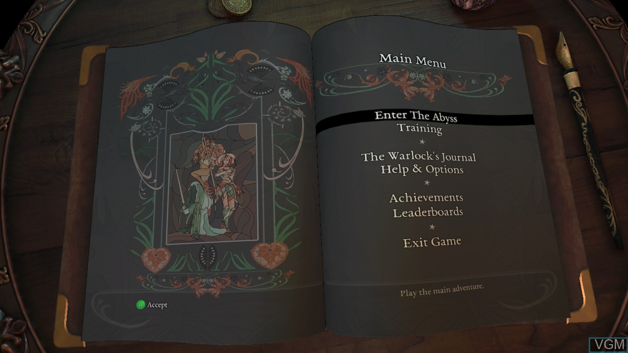 Menu screen of the game Abyss Odyssey on Microsoft Xbox 360