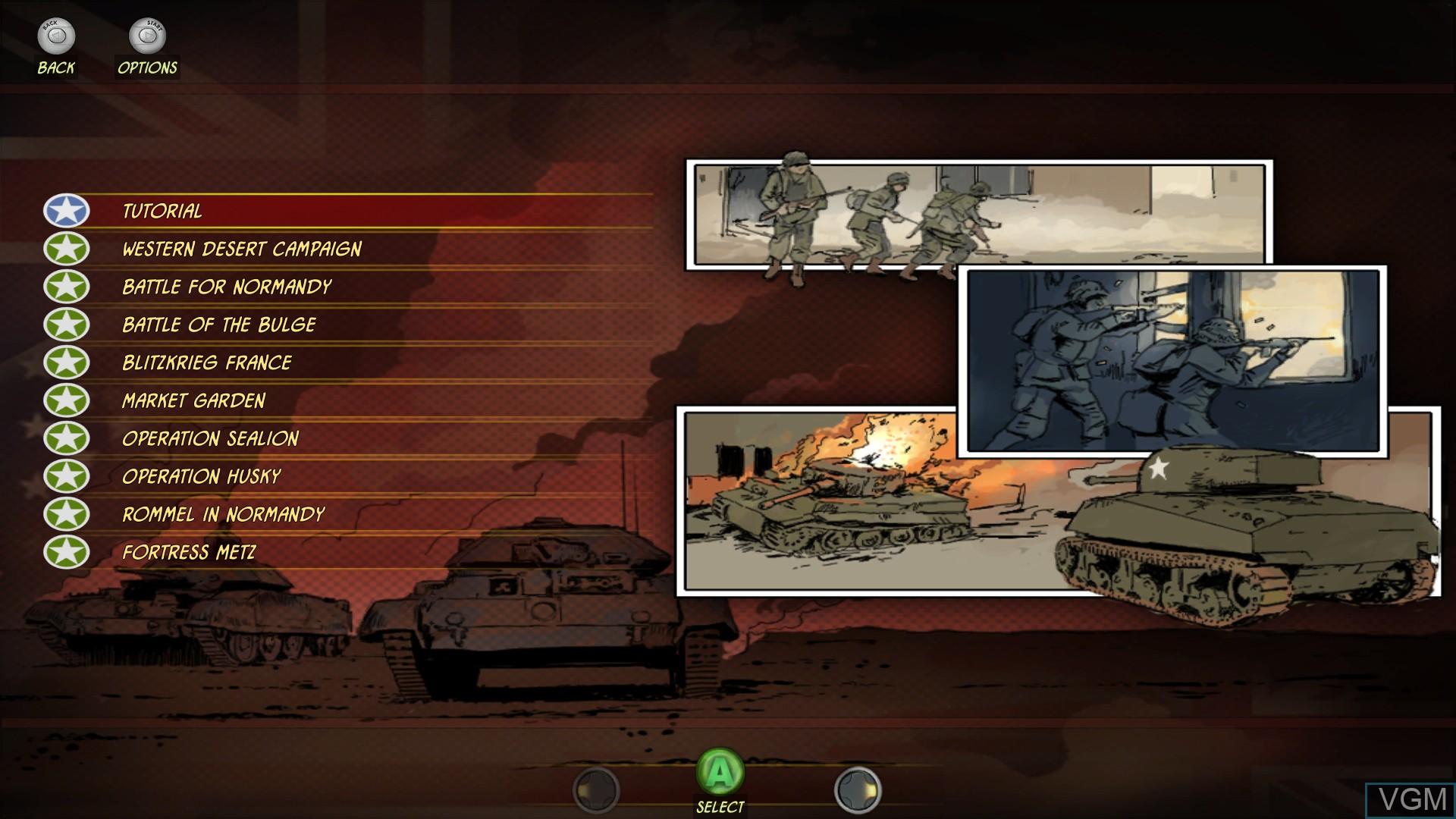 Menu screen of the game Battle Academy on Microsoft Xbox 360