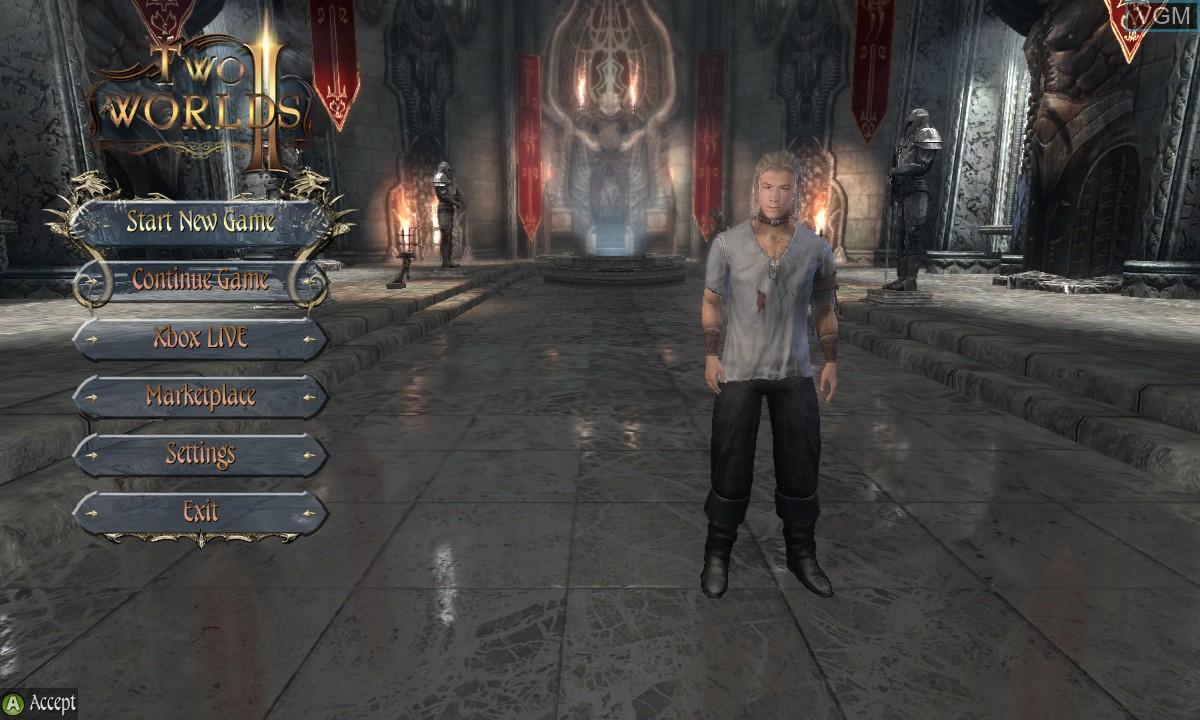 Menu screen of the game Two Worlds II on Microsoft Xbox 360