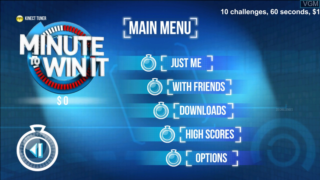 Menu screen of the game Minute to Win It on Microsoft Xbox 360