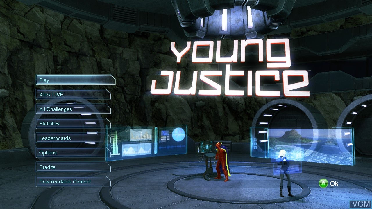 Menu screen of the game Young Justice - Legacy on Microsoft Xbox 360