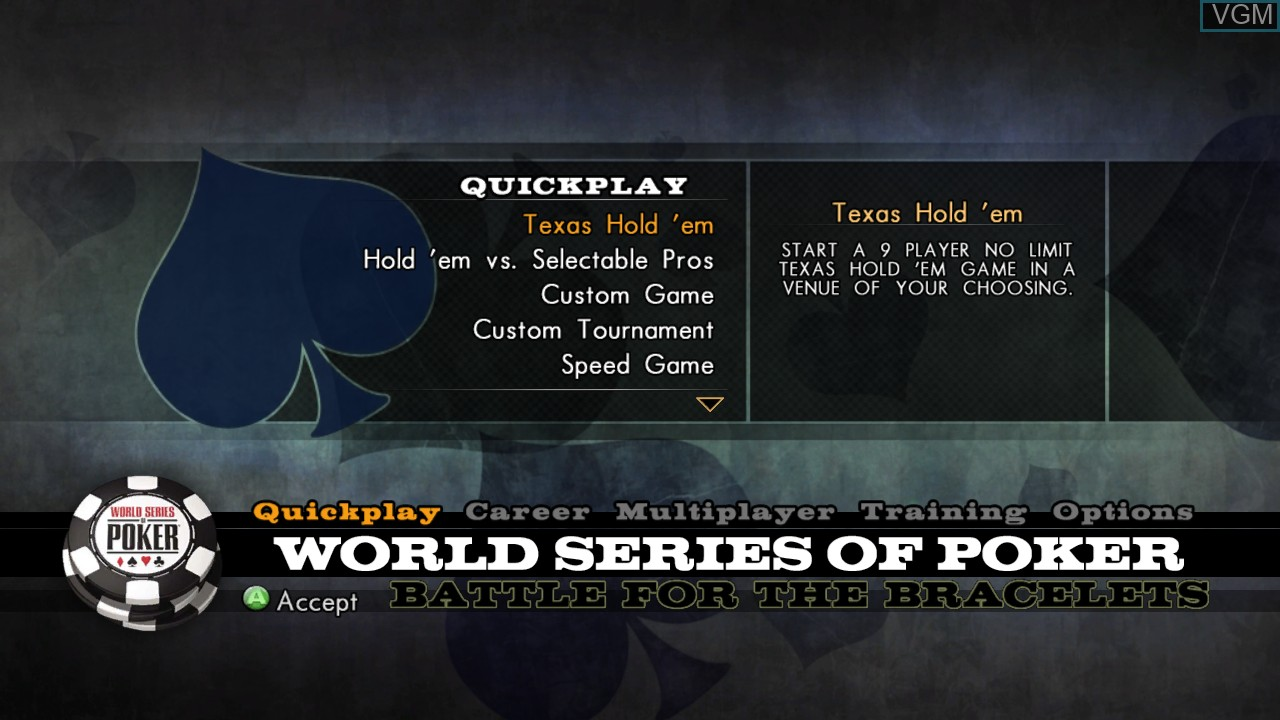 Menu screen of the game World Series of Poker 2008 - Battle for the Bracelets on Microsoft Xbox 360
