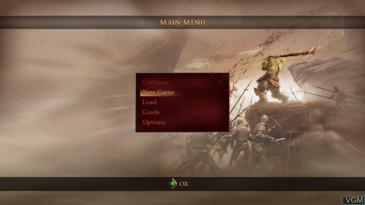 Menu screen of the game Of Orcs and Men on Microsoft Xbox 360