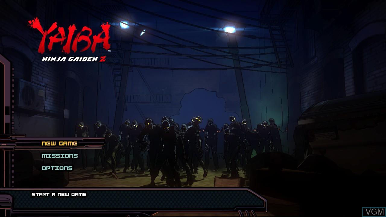Menu screen of the game Yaiba - Ninja Gaiden Z on Microsoft Xbox 360