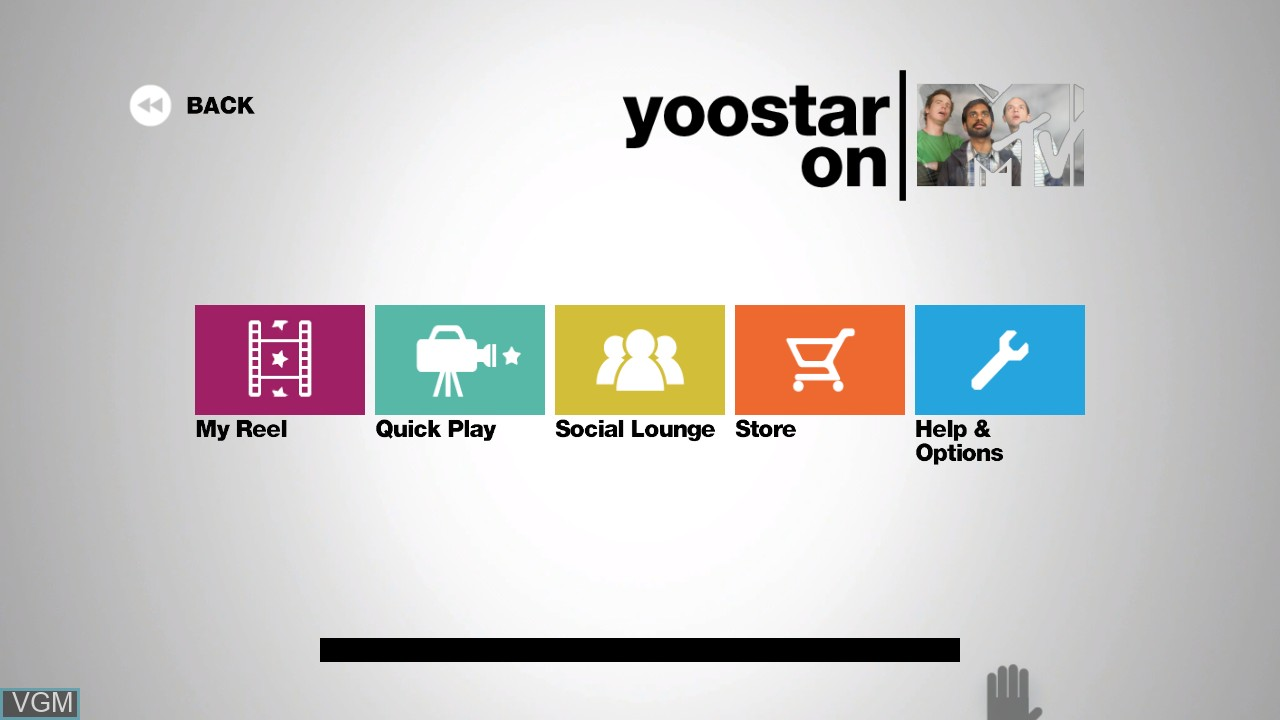 Menu screen of the game Yoostar on MTV on Microsoft Xbox 360