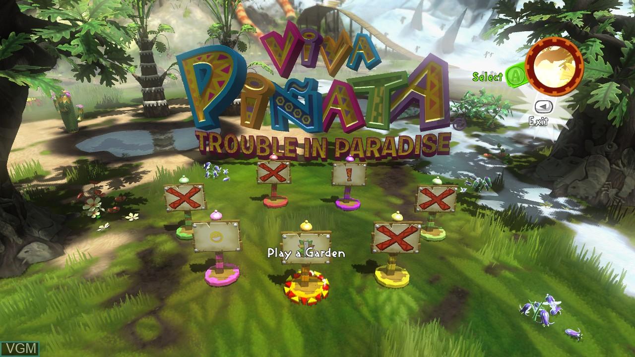 Menu screen of the game Viva Pinata - Trouble in Paradise on Microsoft Xbox 360
