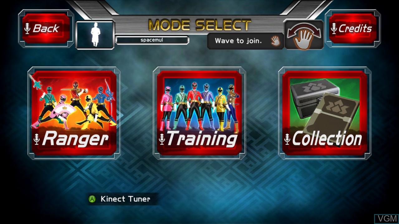 Menu screen of the game Power Rangers Super Samurai on Microsoft Xbox 360