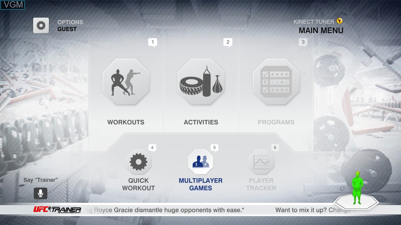 Menu screen of the game UFC Personal Trainer - The Ultimate Fitness System on Microsoft Xbox 360