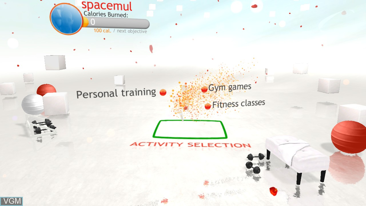 Menu screen of the game Your Shape - Fitness Evolved on Microsoft Xbox 360