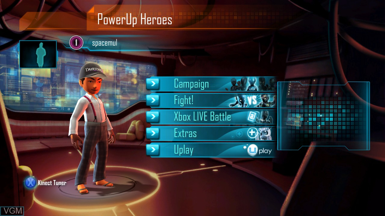 Menu screen of the game PowerUp Heroes on Microsoft Xbox 360
