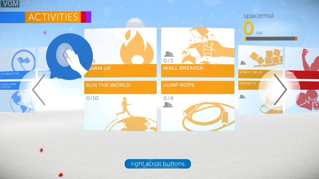 Menu screen of the game Your Shape Fitness Evolved 2012 on Microsoft Xbox 360