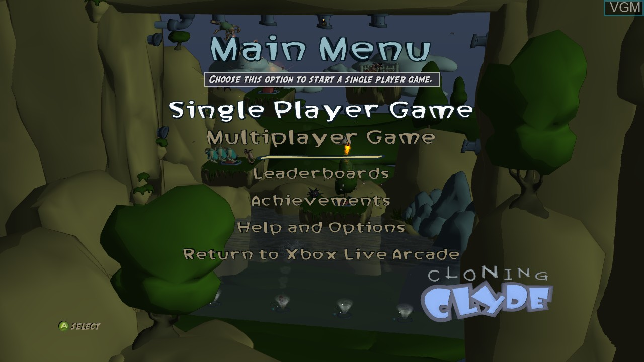 Menu screen of the game Cloning Clyde on Microsoft Xbox 360