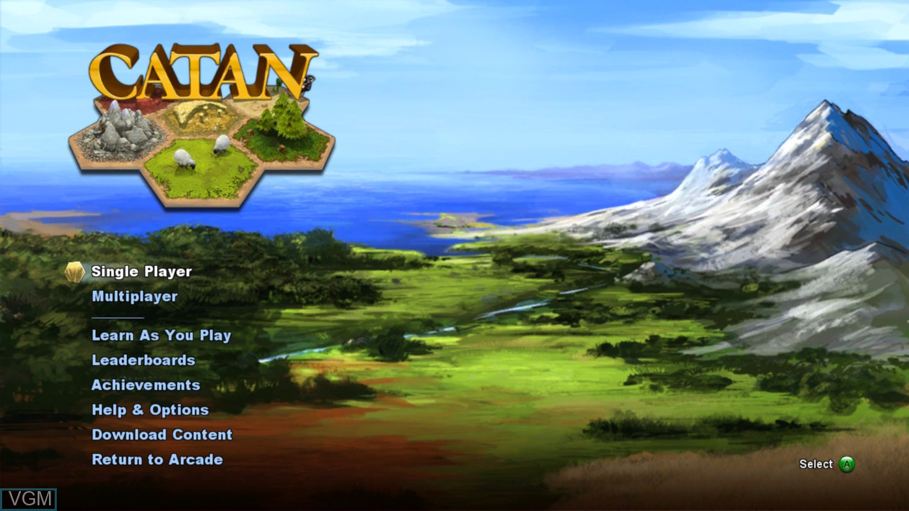 Menu screen of the game Catan on Microsoft Xbox 360