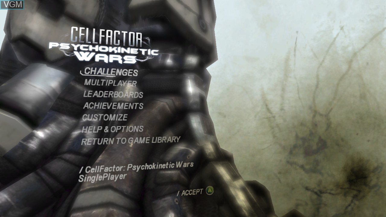 Menu screen of the game CellFactor - Psychokinetic Wars on Microsoft Xbox 360