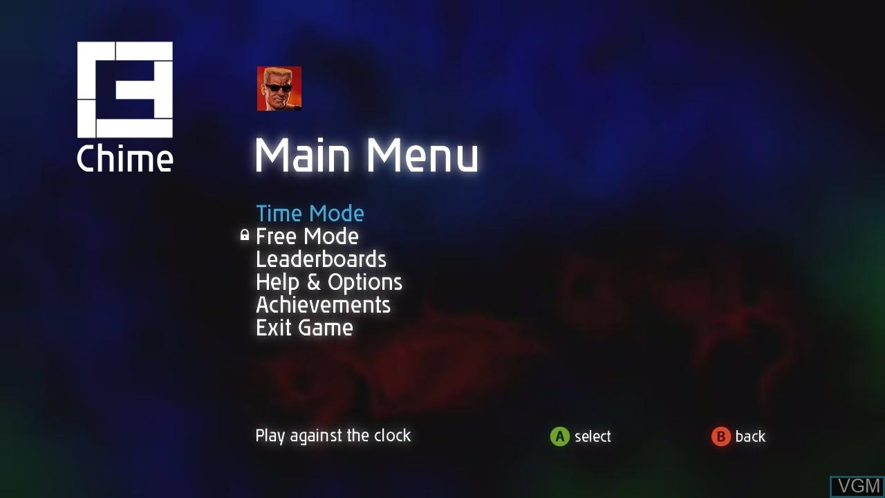 Menu screen of the game Chime on Microsoft Xbox 360