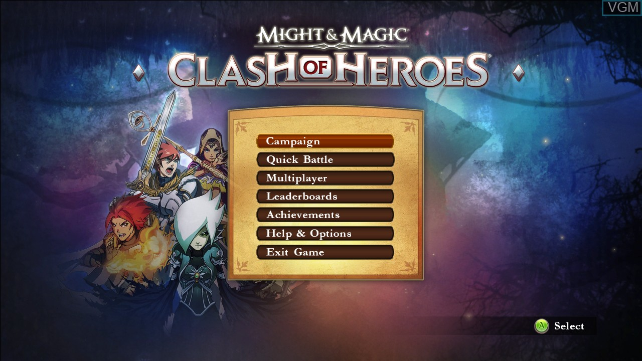 Menu screen of the game Might & Magic - Clash of Heroes on Microsoft Xbox 360