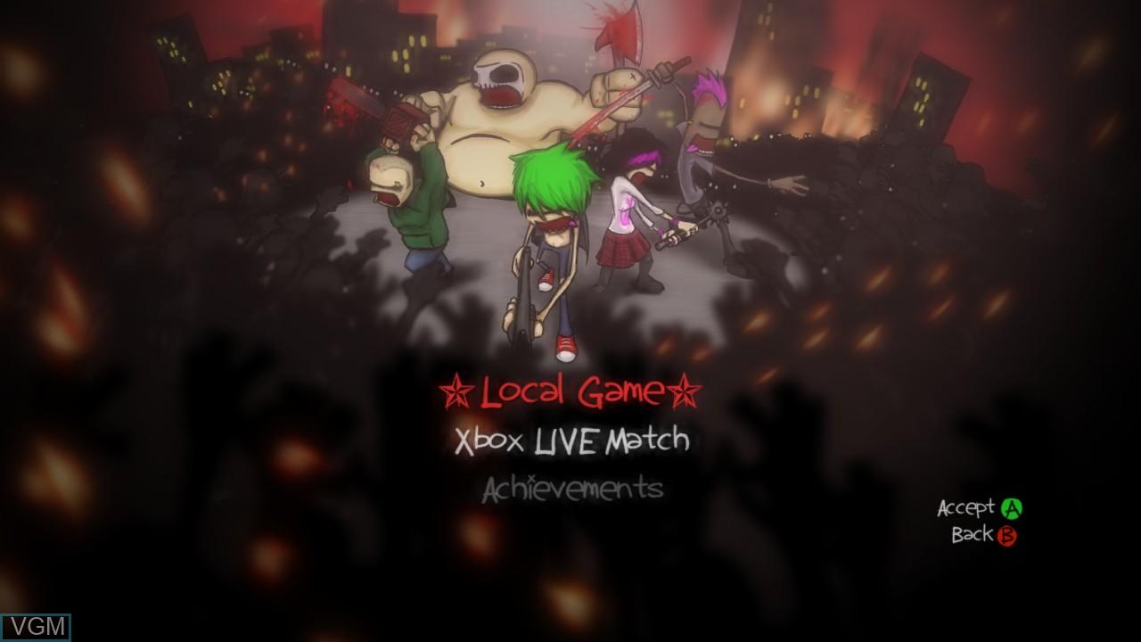 Menu screen of the game Charlie Murder on Microsoft Xbox 360