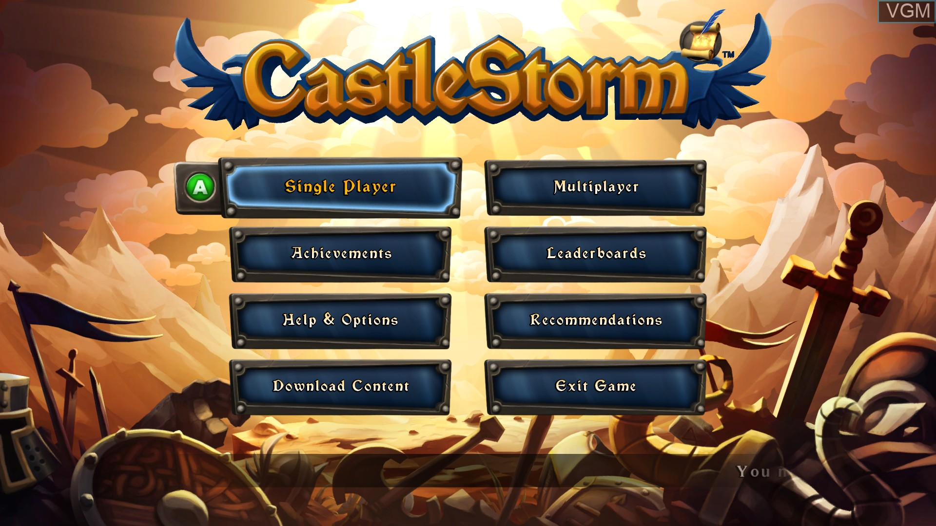 Menu screen of the game CastleStorm on Microsoft Xbox 360