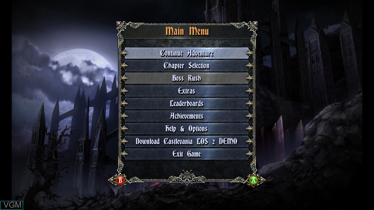 Menu screen of the game Castlevania - Lords of Shadow - Mirror of Fate HD on Microsoft Xbox 360