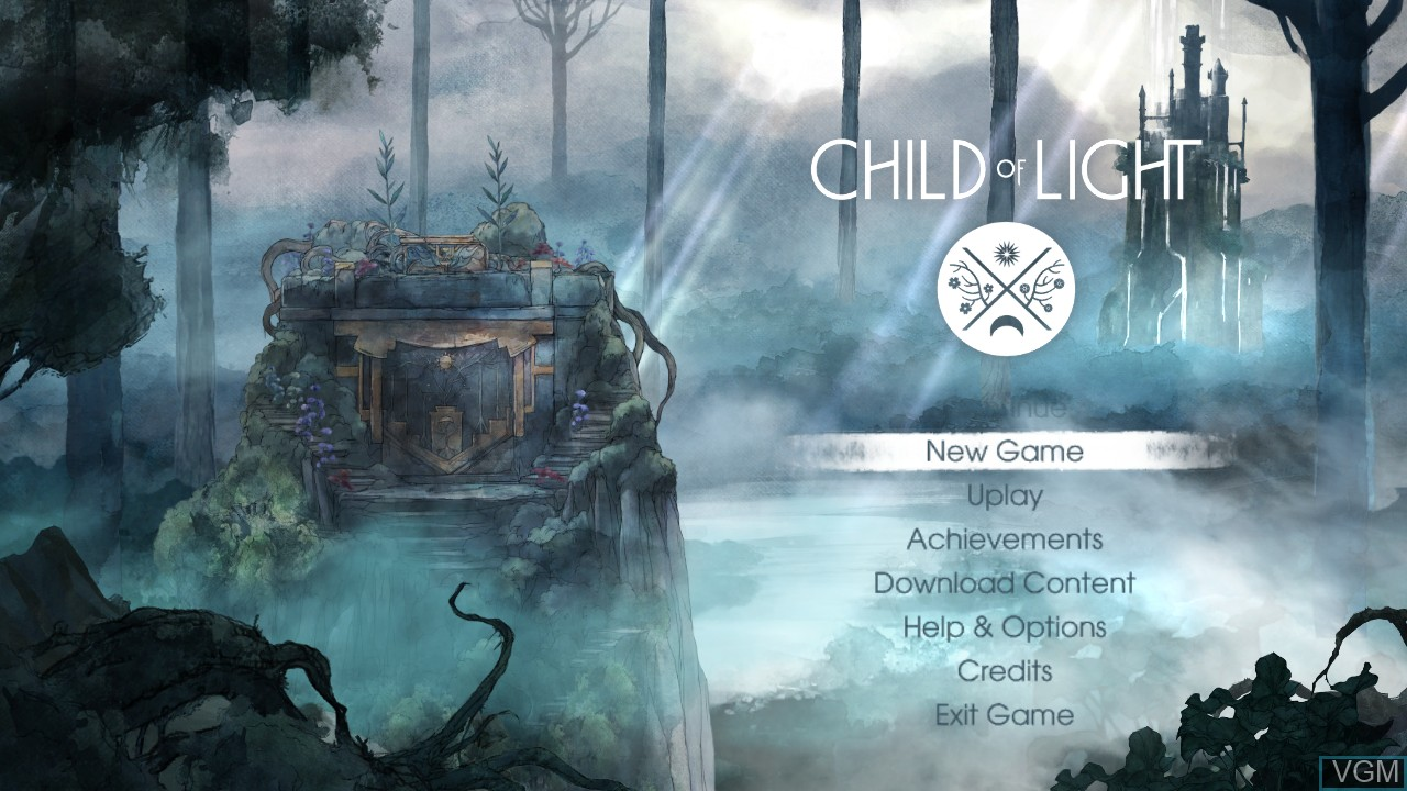 Menu screen of the game Child of Light on Microsoft Xbox 360