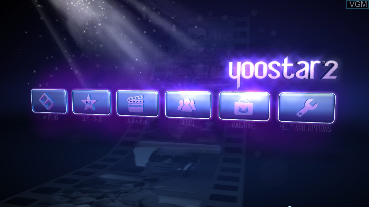 Menu screen of the game Yoostar 2 - In The Movies on Microsoft Xbox 360