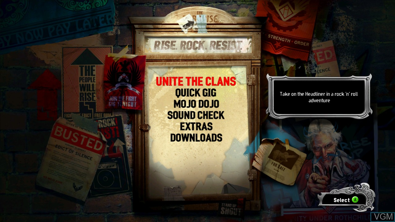 Menu screen of the game Power Gig - Rise of the SixString on Microsoft Xbox 360