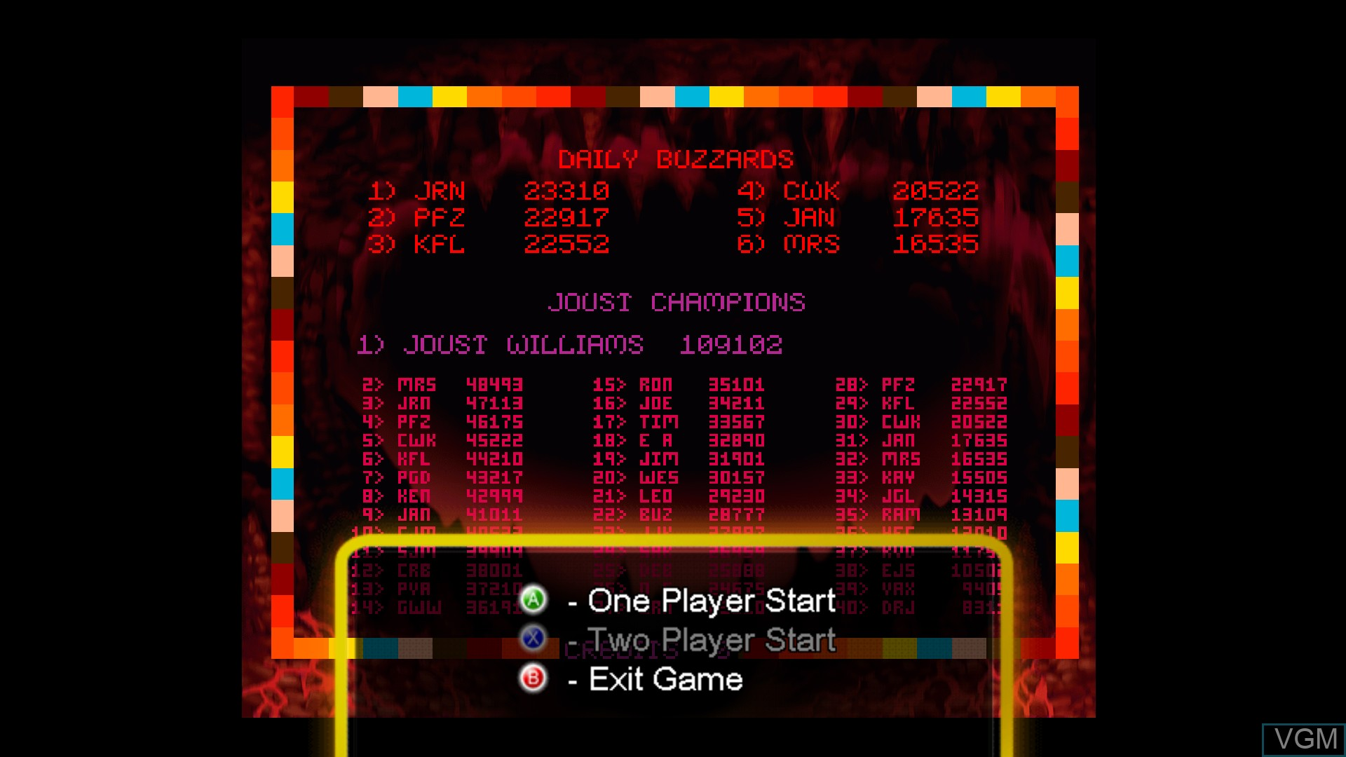 Menu screen of the game Joust on Microsoft Xbox 360