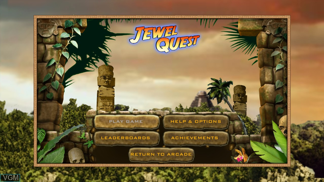 Menu screen of the game Jewel Quest on Microsoft Xbox 360