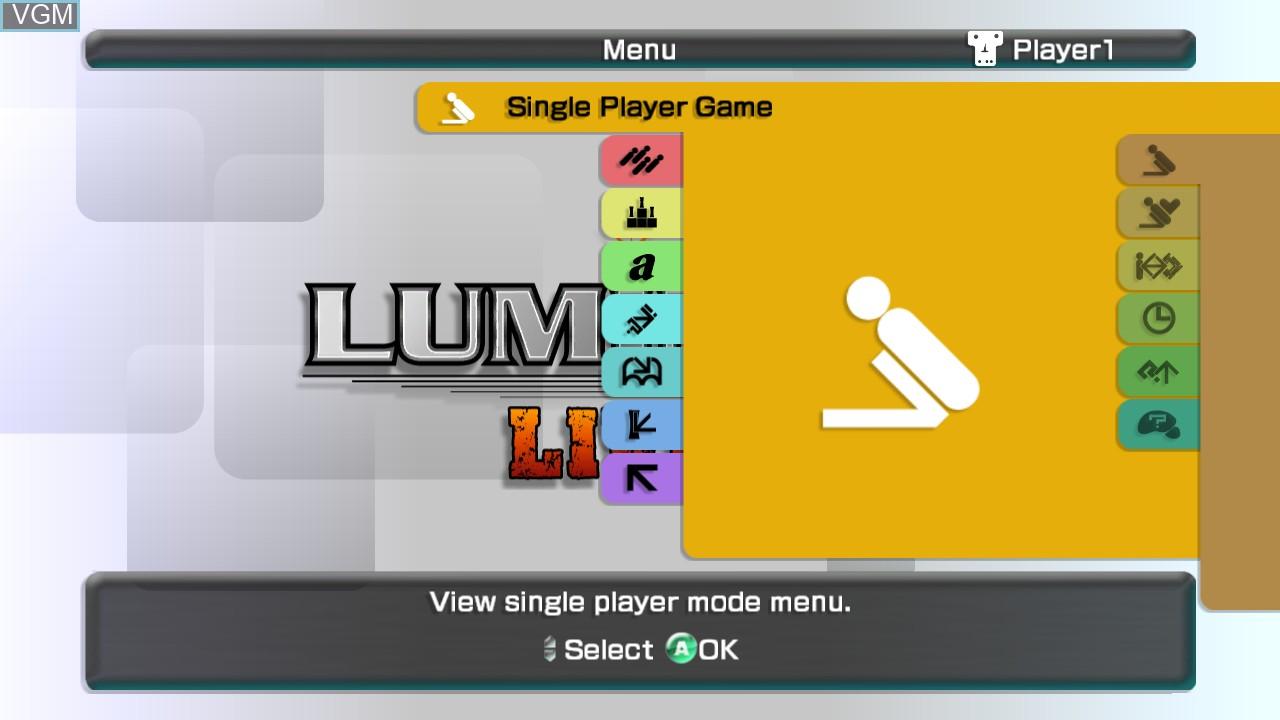 Menu screen of the game Lumines Live! on Microsoft Xbox 360