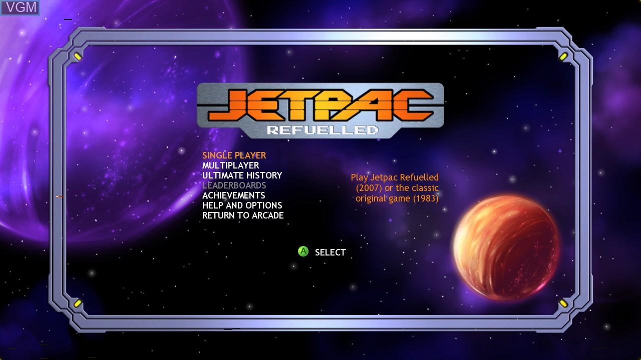 Menu screen of the game Jetpac Refuelled on Microsoft Xbox 360
