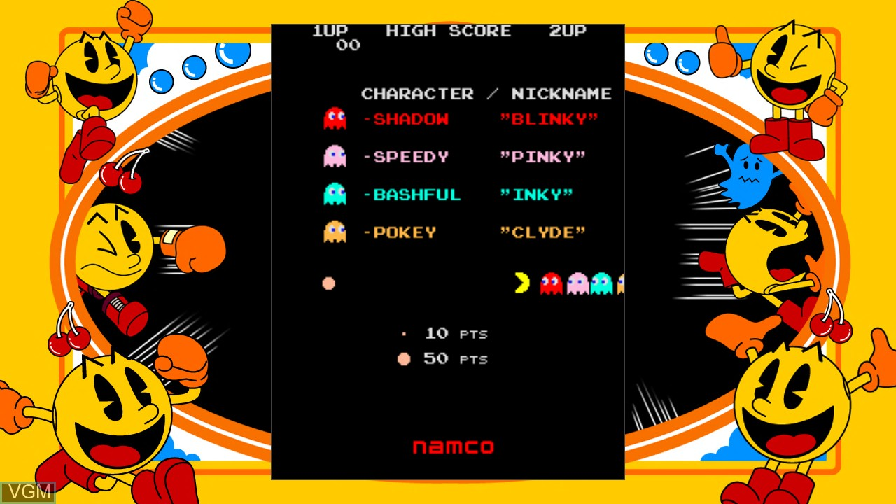 Menu screen of the game Pac-Man on Microsoft Xbox 360