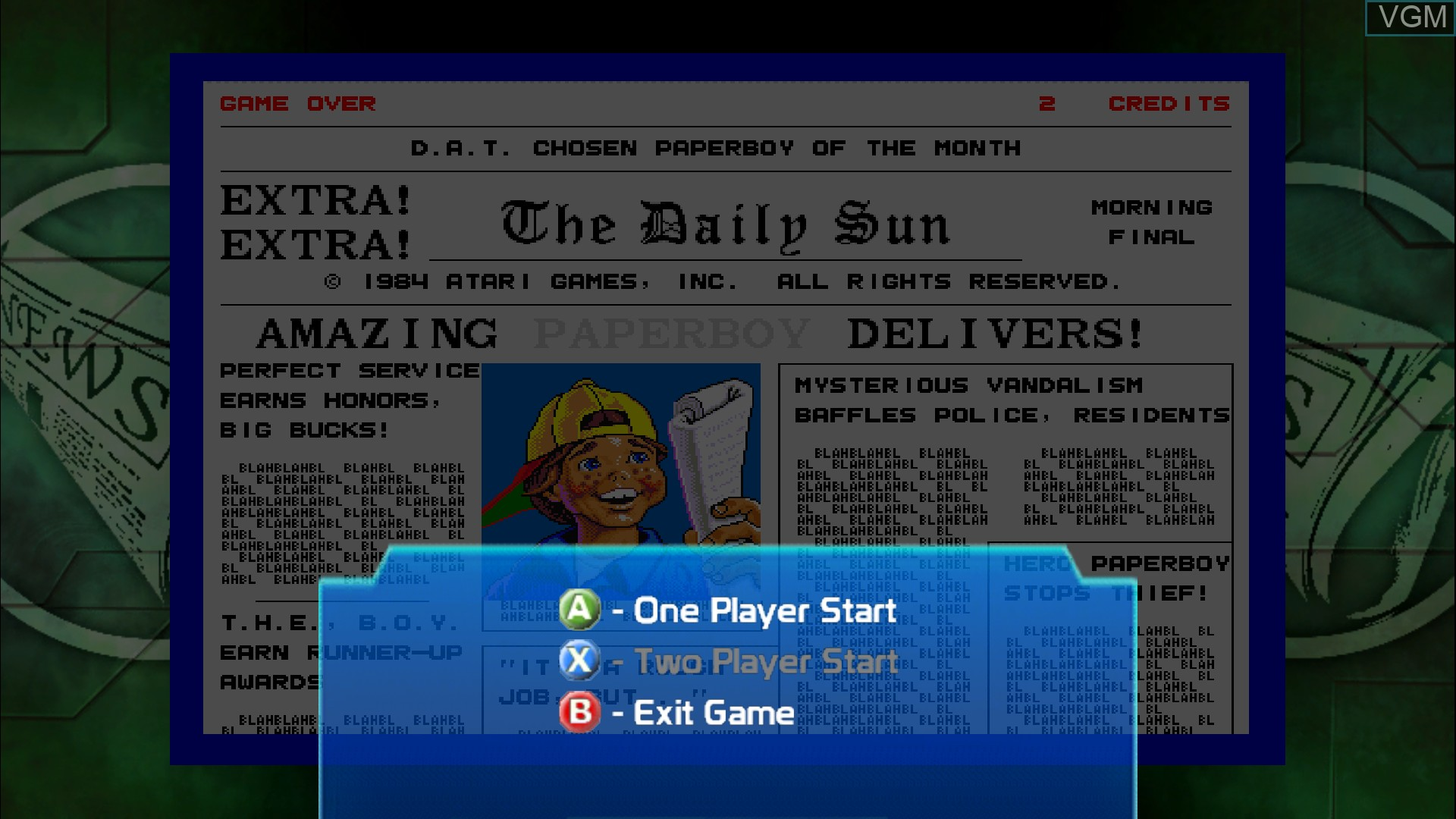Menu screen of the game Paperboy on Microsoft Xbox 360