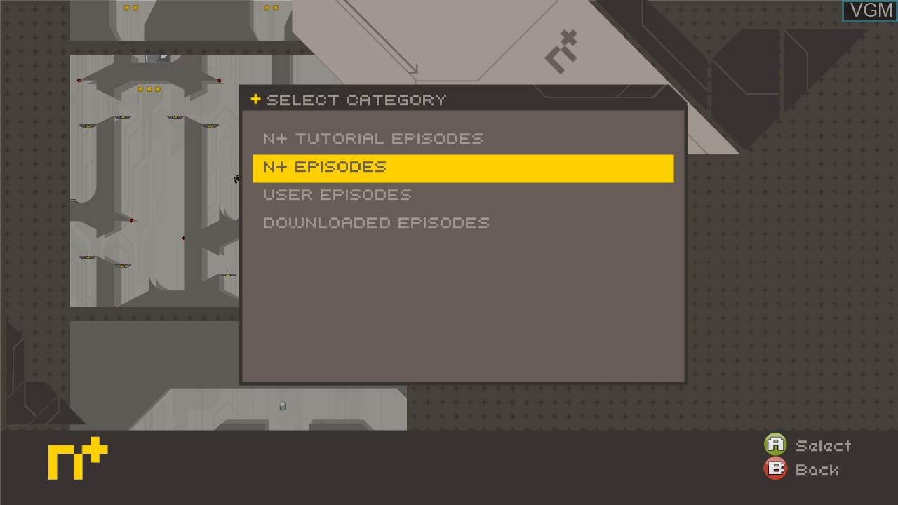 Menu screen of the game N+ on Microsoft Xbox 360