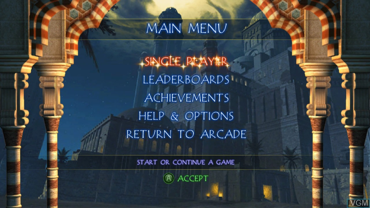 Menu screen of the game Prince of Persia Classic on Microsoft Xbox 360