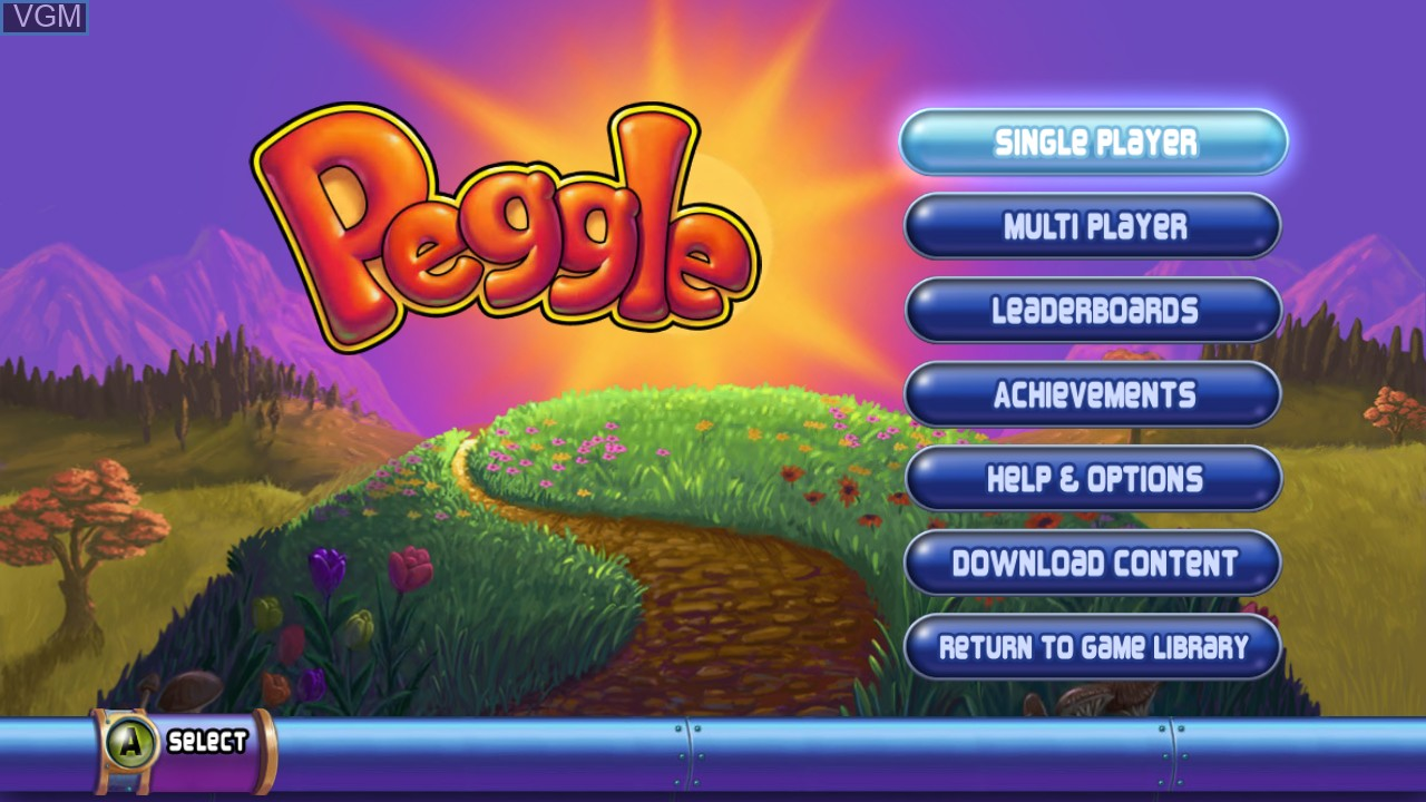 Menu screen of the game Peggle on Microsoft Xbox 360