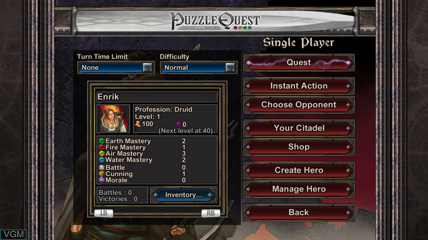 Menu screen of the game Puzzle Quest - Challenge of the Warlords on Microsoft Xbox 360