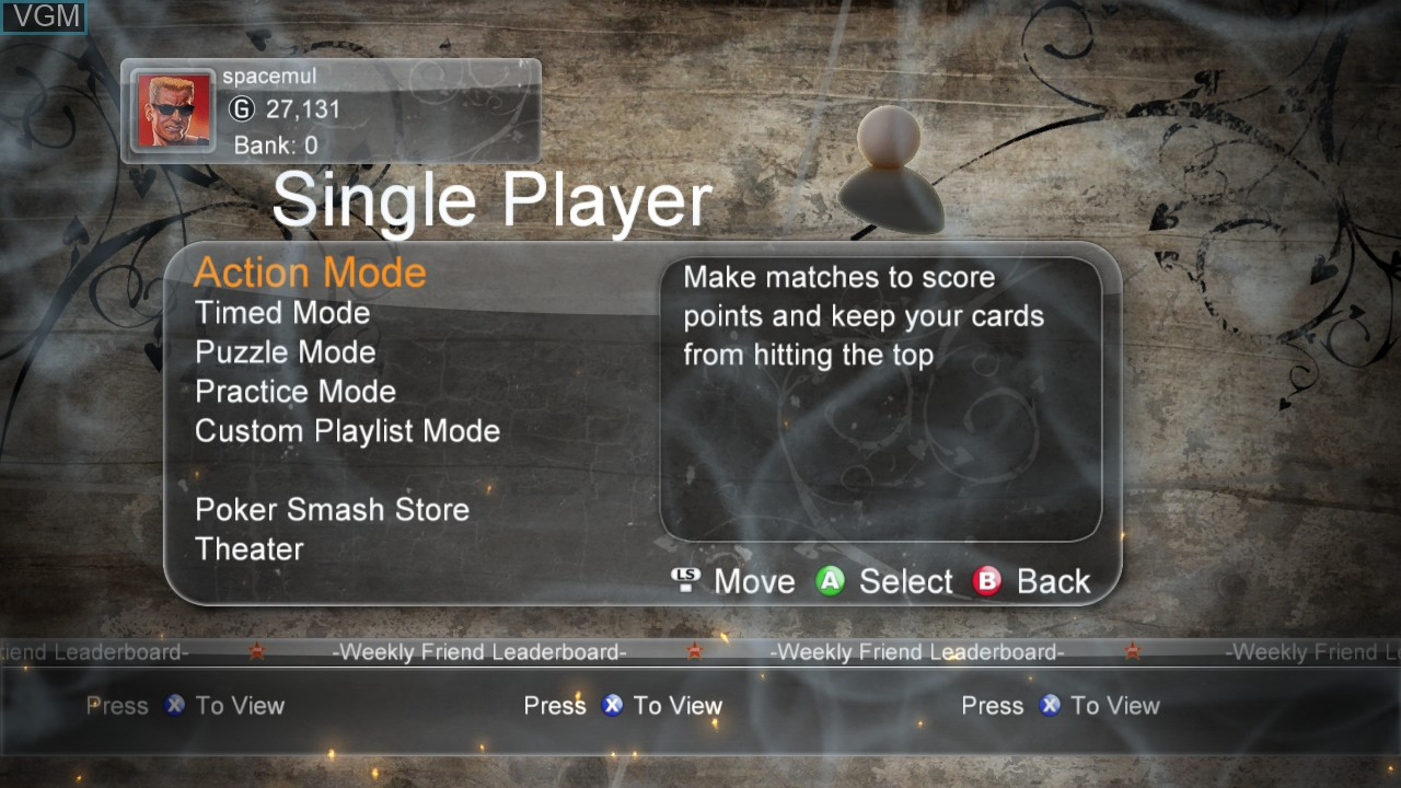 Menu screen of the game Poker Smash on Microsoft Xbox 360