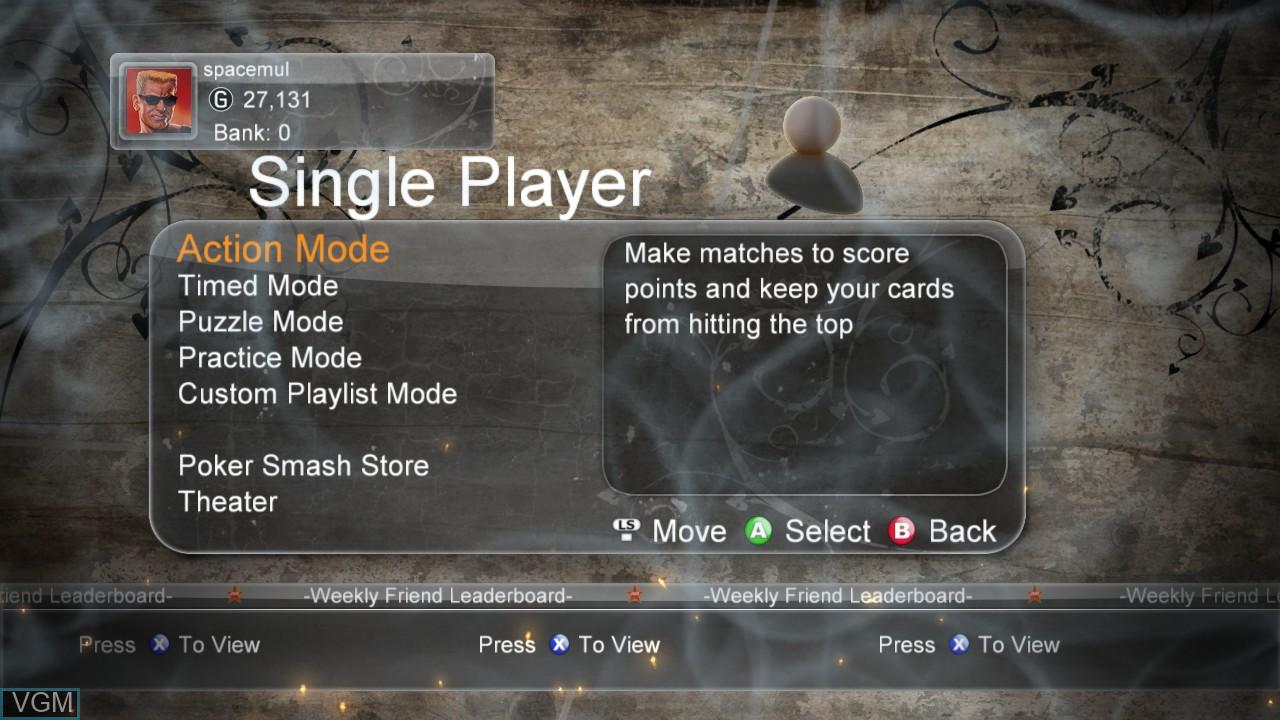 Menu screen of the game Poker Smash on Microsoft Xbox 360