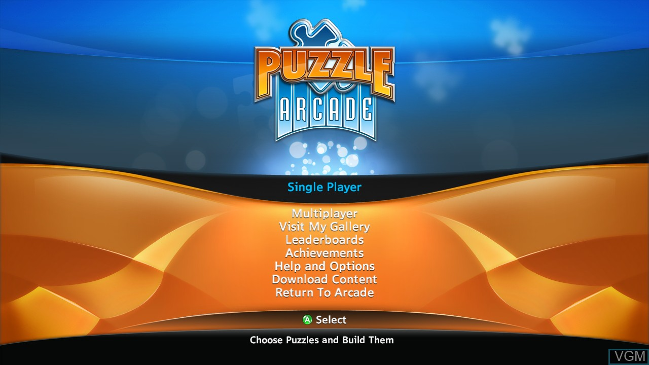 Menu screen of the game Puzzle Arcade on Microsoft Xbox 360
