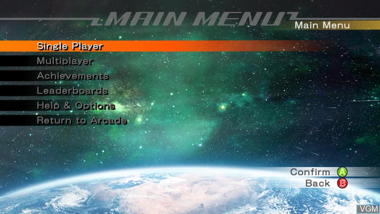 Menu screen of the game Omega Five on Microsoft Xbox 360