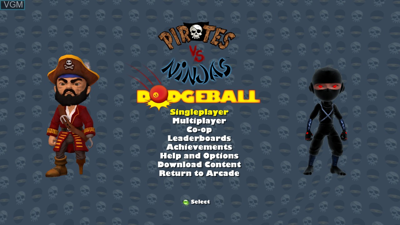 Menu screen of the game Pirates vs Ninjas Dodgeball on Microsoft Xbox 360