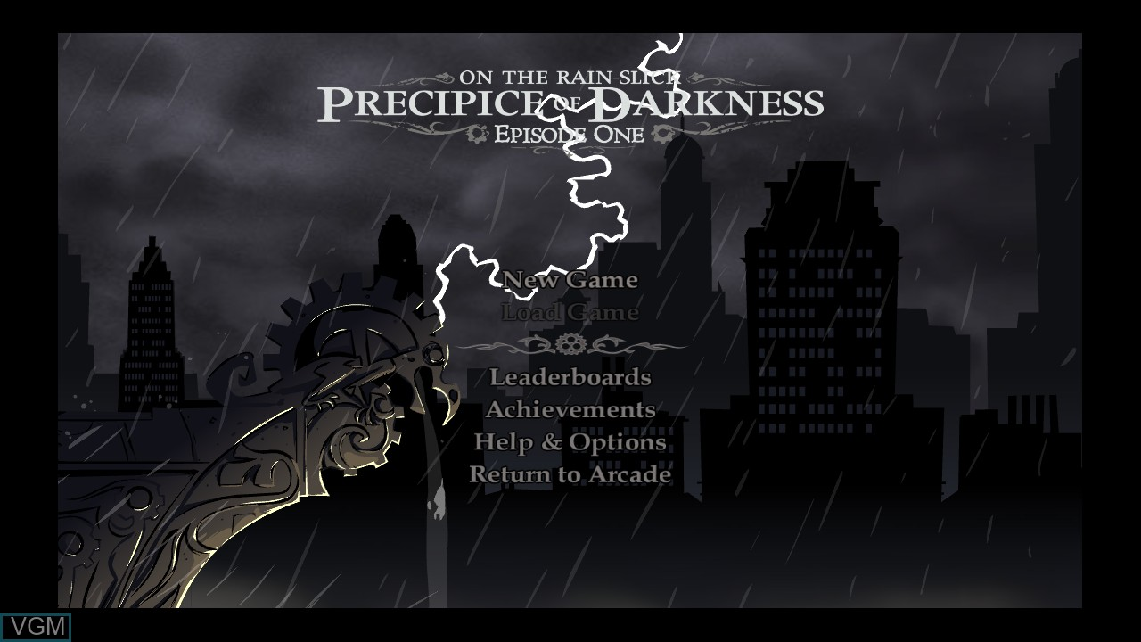 Menu screen of the game Penny Arcade Adventures - On the Rain-Slick Precipice of Darkness Episode One on Microsoft Xbox 360