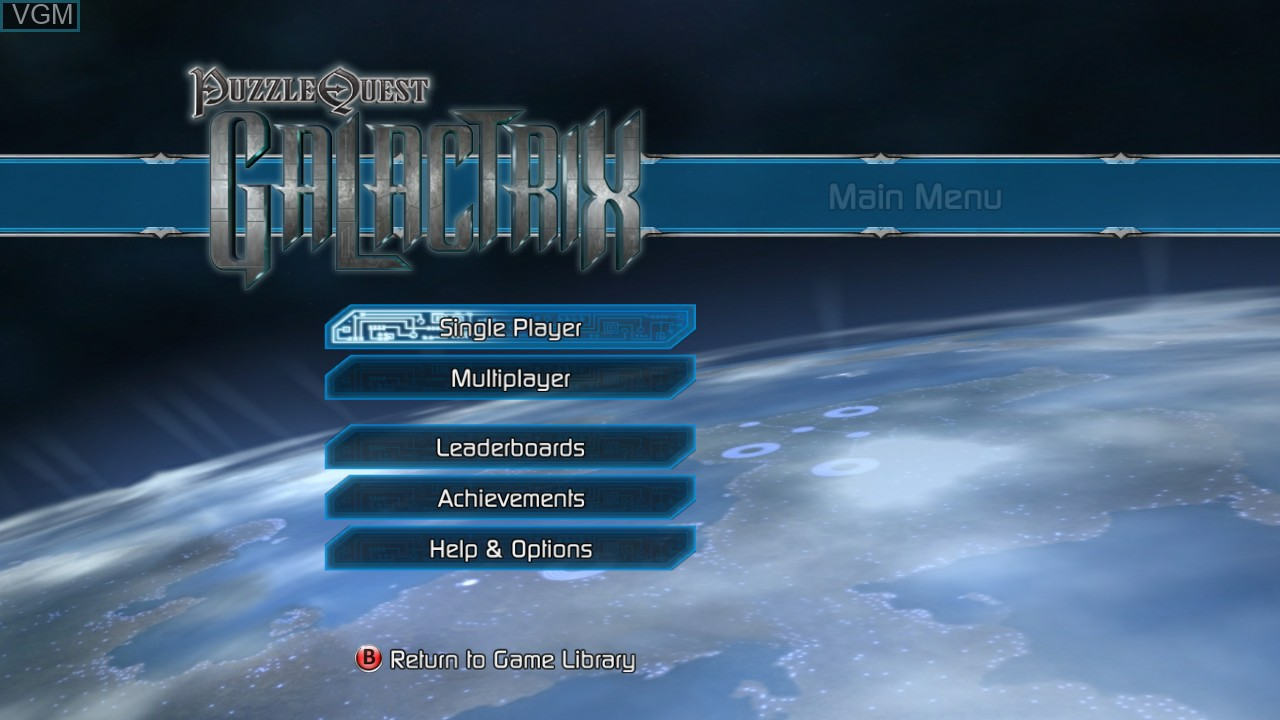 Menu screen of the game Puzzle Quest - Galactrix on Microsoft Xbox 360