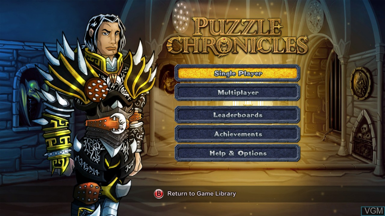 Menu screen of the game Puzzle Chronicles on Microsoft Xbox 360