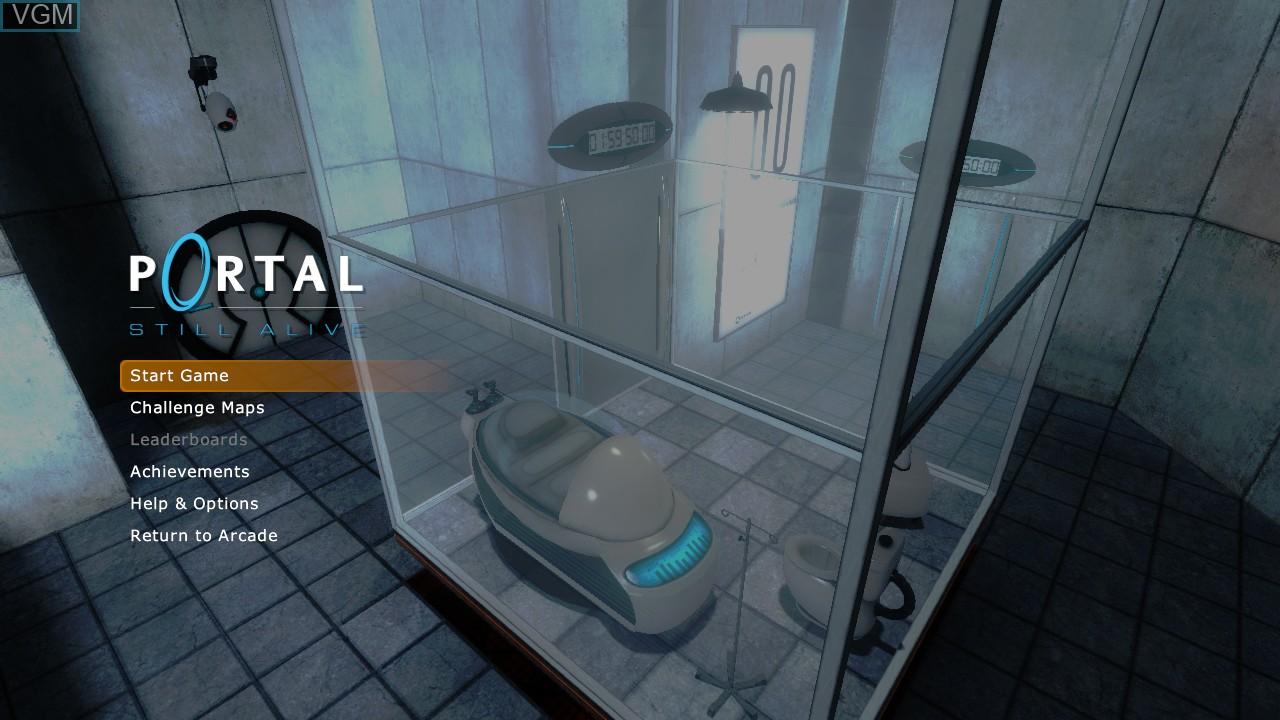 Menu screen of the game Portal - Still Alive on Microsoft Xbox 360